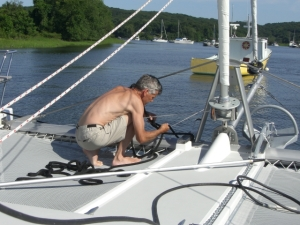 Russ working on boat