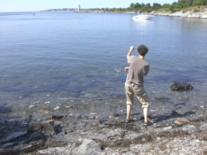 Benj skipping stones