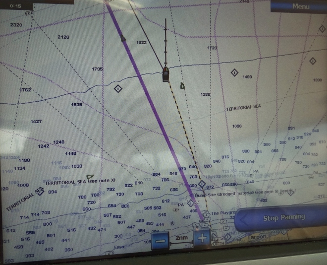 We set a course for south of desired. Notice how our stern is being pulled toward the purple line.