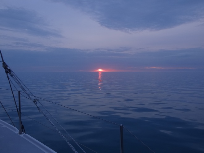 Sunrise at 7:20am heading toward Great Sale Cay