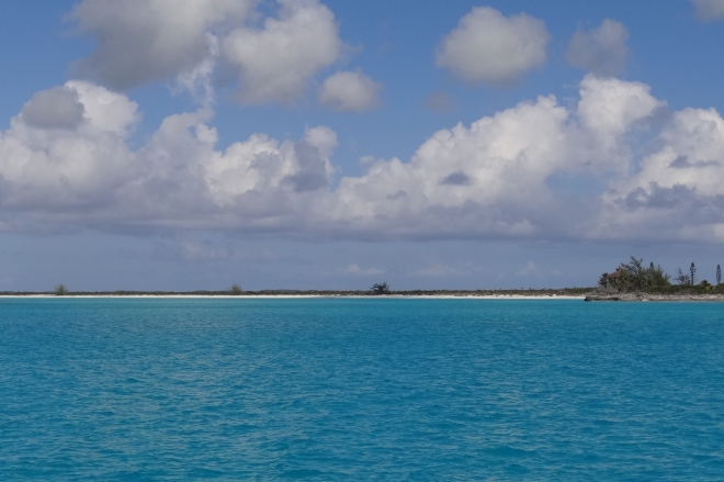 Looking at Hog Cay as we approach.