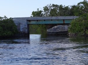 The tiny bridge on Galliot Cay at head of creek