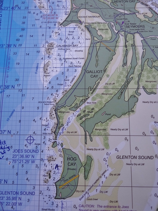 "Chart view of our dinghy tour- starts at ""A"" by Hog Cay, up the east side of Galliot, cutting over then down"