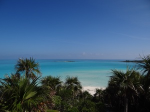 Looking out toward Exuma Sound from atop Camp Driftwood