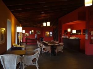 Inside a dimly lit Chez Pierre