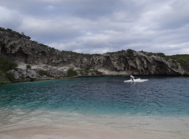 Dean's Blue Hole- tucked in a protected corner at the beach