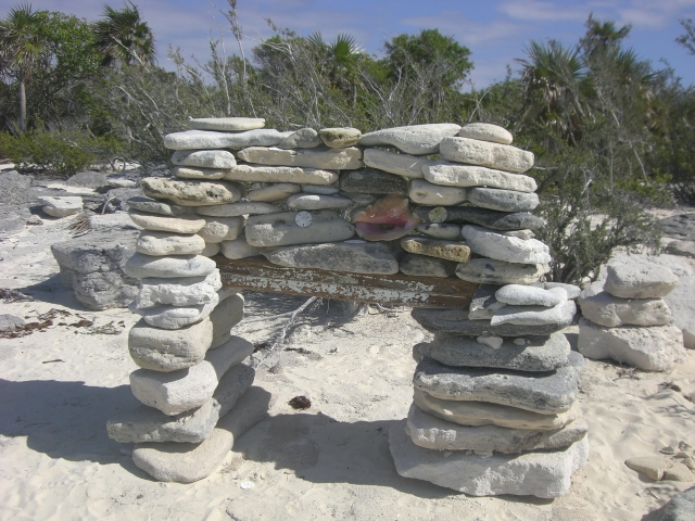 A massive cairn on the beach at Big Farmers Cay.