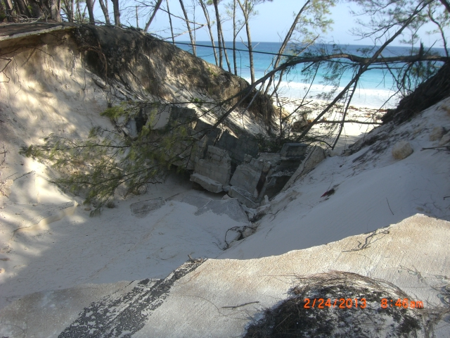 Multi-storm damage at the base by the beach bluffs