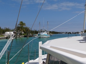 Meeting a fishing vessel in the just wide enough channel into Treasure Cay basin