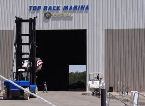 As the name implies, boats are rack stored inside.