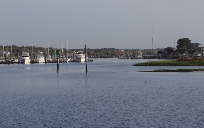 Carolina Beach- looking north from the anchorage toward the ICW