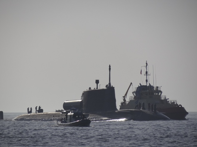 Submarine with escort vessels
