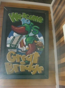 Funky sign inside Chili's at Great Bridge, VA
