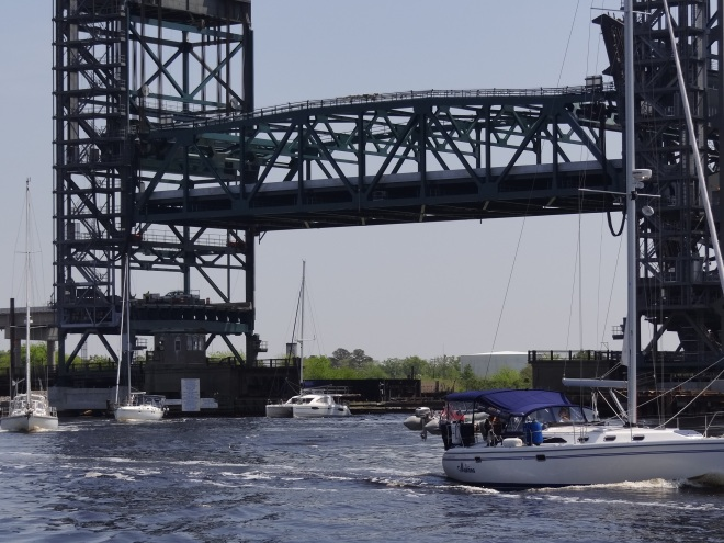 Our first boat parade this season, going under Gilmerton Lift Bridge