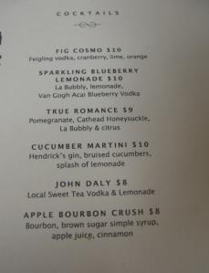 Cocktail menu at Poogan's