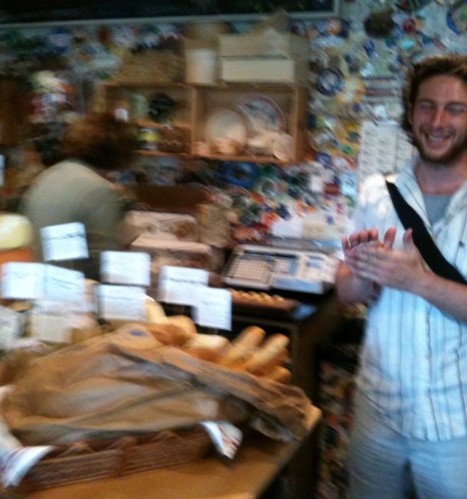 Eric addresses us at Caseus- fromagerie and bistro (sorry-iPhone fuzzy pic)
