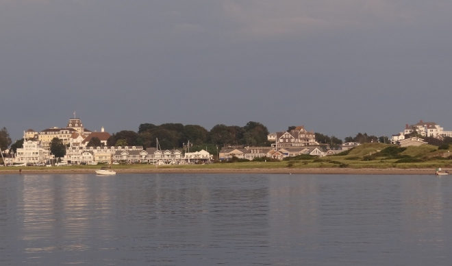 View of Watch Hill, RI from our anchorage off Napatree Beach