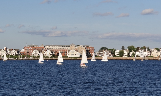 A fine day in the harbor for small craft sailing