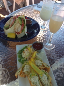 Swordfish wrap and crabmeat stuffed squash blossoms- yum!