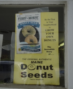 Some donut humor- sign in window at Killer Donuts