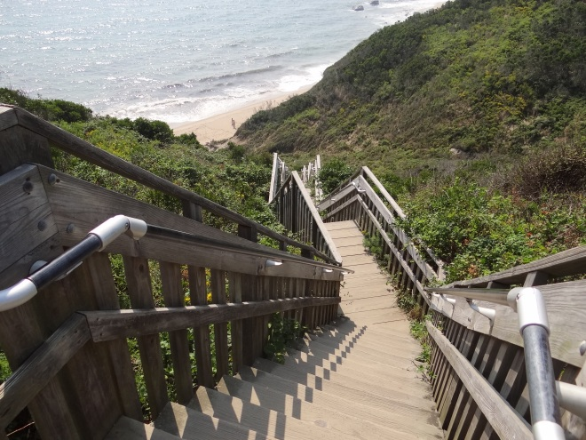 Looking down the more than 120 steps to the beach at Mohegan Bluffs