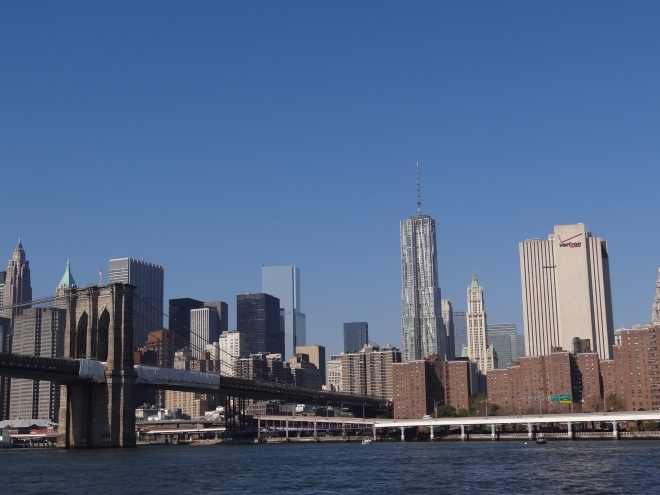 New York City skyline, Tower One in center and Brooklyn Bridge to left