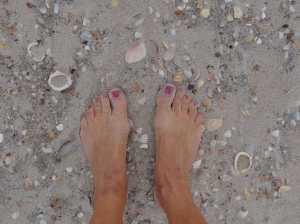 Sand, shells toes on the beach- life is good!