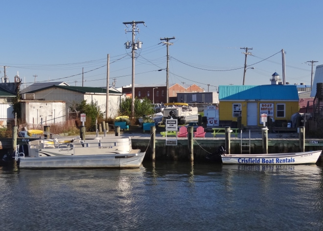 Crisfield Boat Rental occupies space near the basin's entrance- can't miss 'em