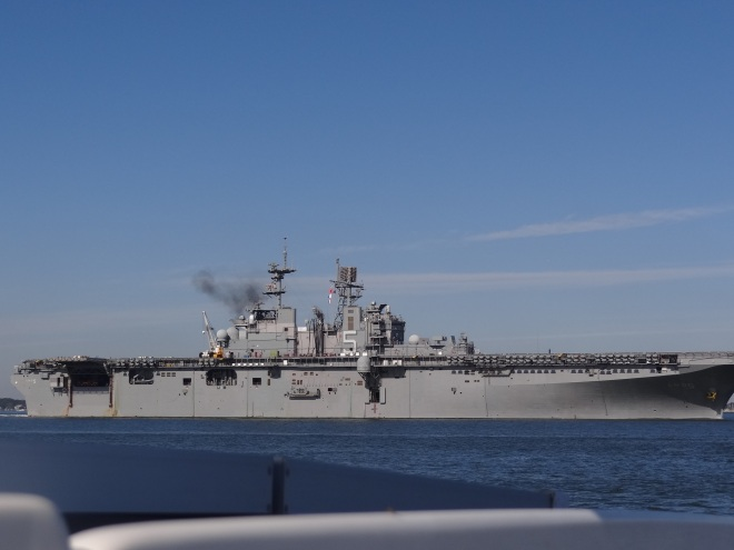 We stay clear of No. 5 as she heads out of Norfolk