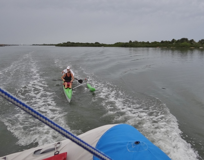 Our stern wake gets a fun second use down the Mosquito Lagoon