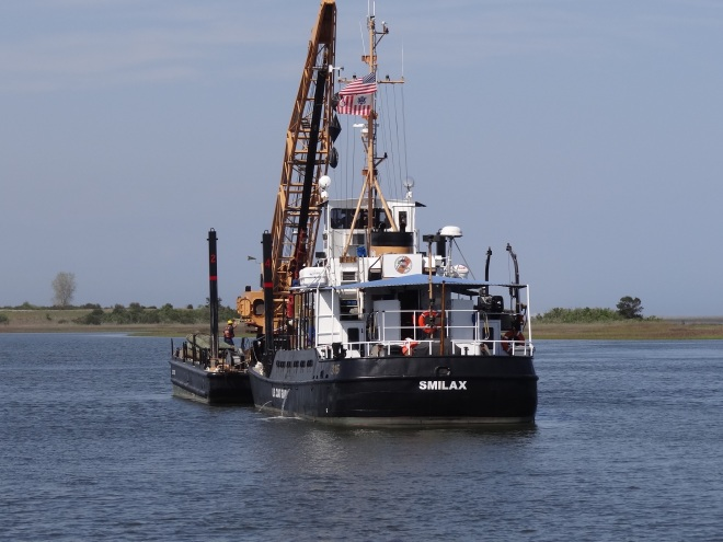 CG Cutter Smilax and her work barge replace ICW daymark near Carolina Beach