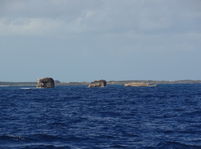 Exuma Sound as we pass by Three Sisters, bound for George Town