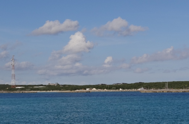View of Highbourne Cay and marina from Oyster Cay