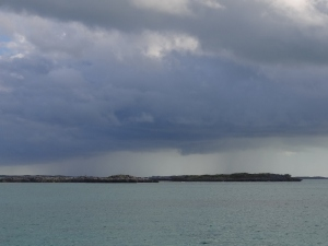 We weren't too unhappy to see rain over Shroud Cay in the distance