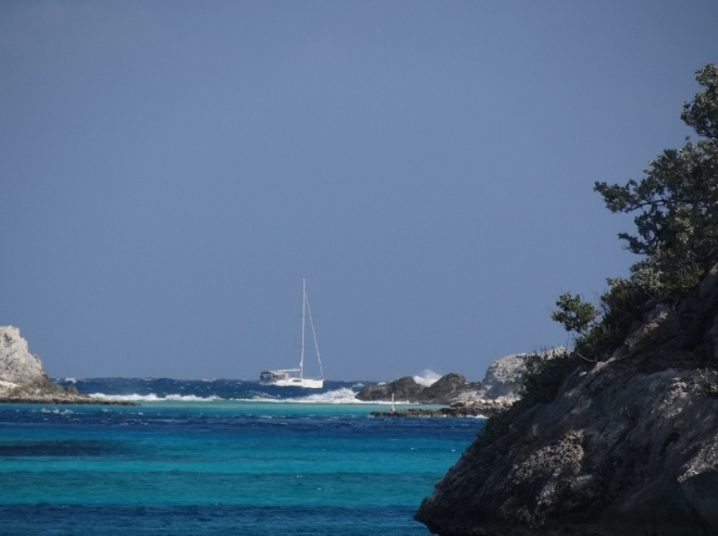 Crazy cruiser or Salty Sailors? They head out into Exuma Sound