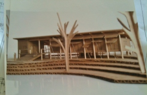Cardboard scale model of future camp-style house- front view