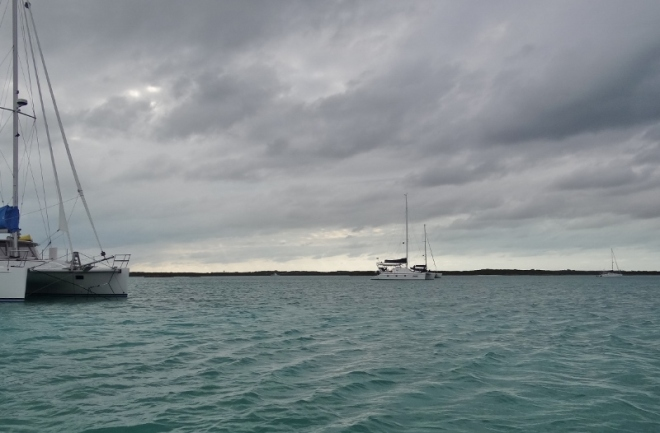 A few of the catamarans anchored in Red Shanks- this was one of our nicer days