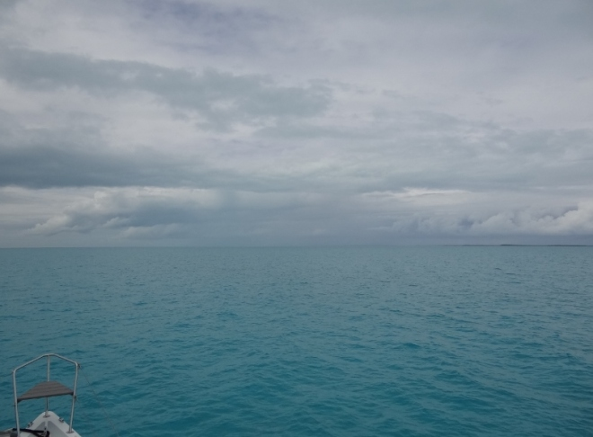 Heading west with Hog Cay off to the right