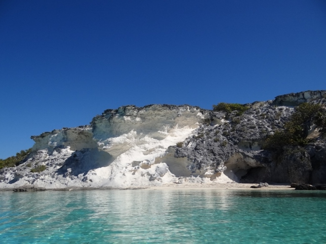 White underside of cliff as we dinghy down to South Gaulin Cay