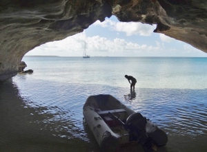 Looking out from the cave- I'm conch walk watching