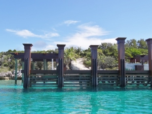 Real mahogany docks at Musha Cay