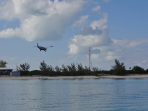 Plane approaches the airstrip at Staniel
