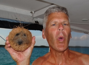 Two cuties- Russ tries to imitate the cute coconut face