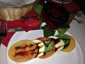 A special first course and ladies received a rose and chocolates