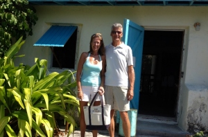 Outside the library/oldest building on Staniel Cay