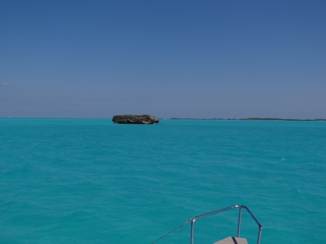 The rock in the Don't Rock passage- the shallow draft route inside Whale Cay