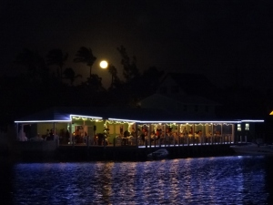 Moonrise over Harbor's Edge - an easy dinghy row from our mooring