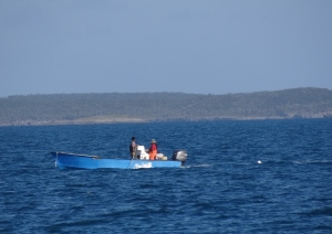 Crabbers collecting the day's catch from their pots