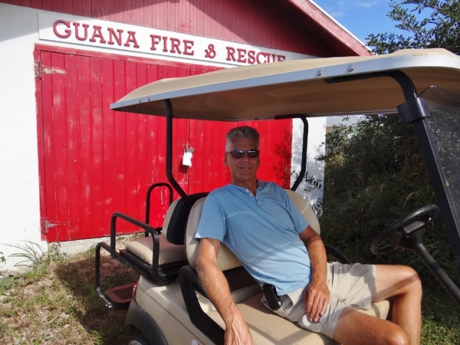 We begin our tour at the freshly painted Fire & Rescue bldg. near Dive Guana