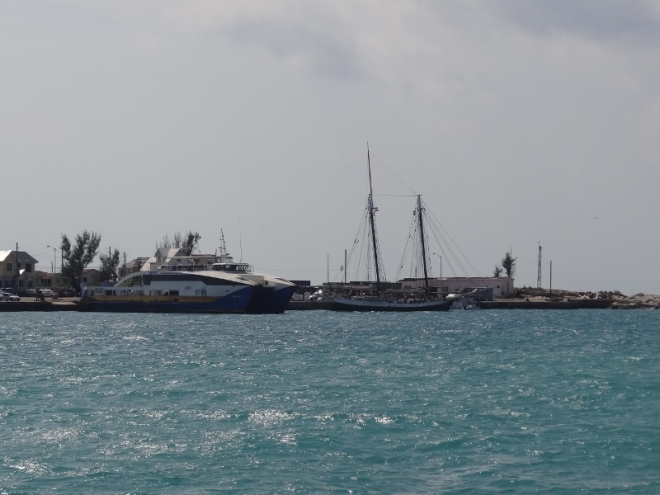 S/v Liberty Clipper and m/v SEALINK out of Nassau have wave protection at the government docks